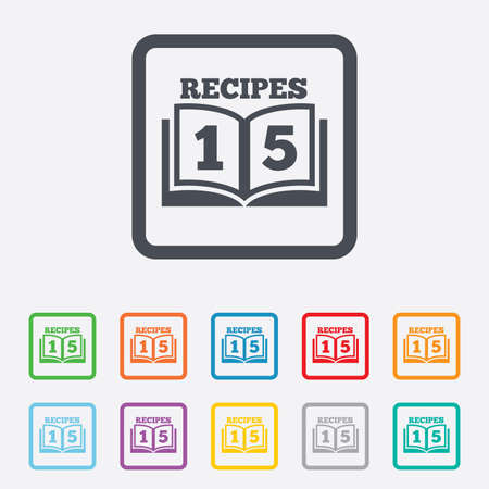 Cookbook sign icon. 15 Recipes book symbol. Round squares buttons with frame. photo