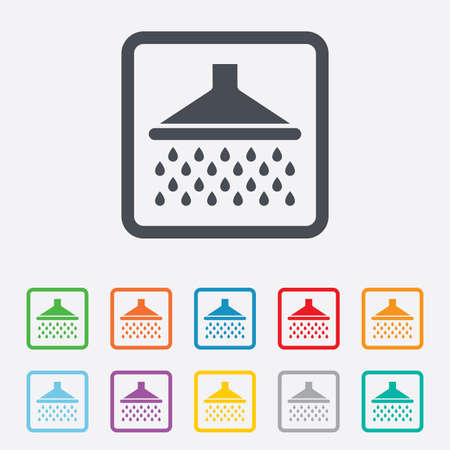 douche: Shower sign icon. Douche with water drops symbol. Round squares buttons with frame.