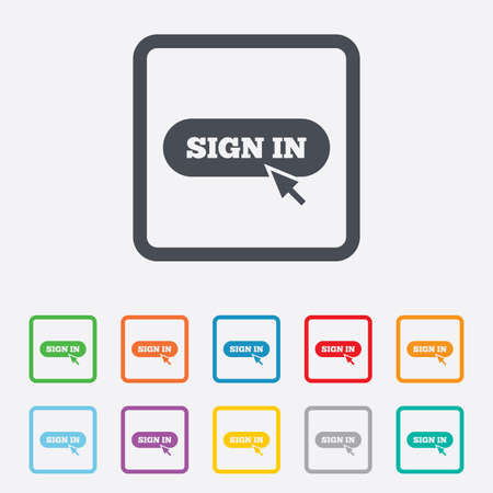 Sign in with cursor pointer sign icon. Login symbol. Website navigation. Round squares buttons with frame. photo