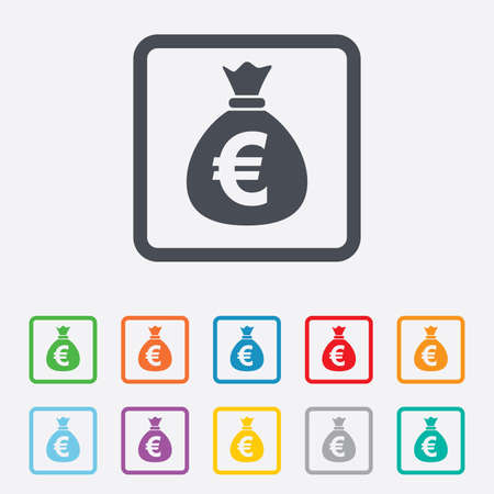 eur: Money bag sign icon. Euro EUR currency symbol. Round squares buttons with frame.
