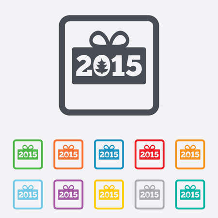Happy new year 2015 sign icon. Christmas gift anf tree. Round squares buttons with frame. photo
