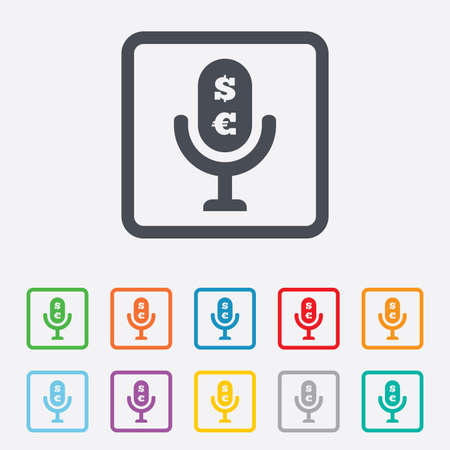 usr: Microphone icon. Speaker symbol. Paid music sign. Round squares buttons with frame.