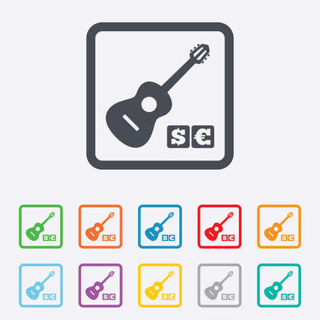 Acoustic guitar sign icon. Paid music symbol. Round squares buttons with frame.