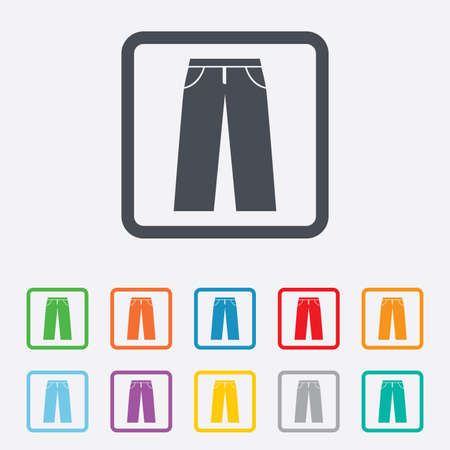mens clothing: Mens jeans or pants sign icon. Casual clothing symbol. Round squares buttons with frame.