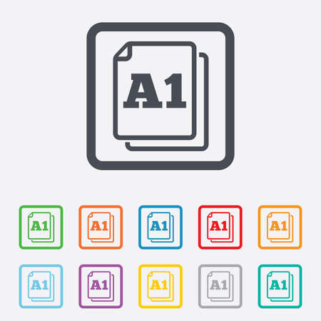 a1: Paper size A1 standard icon. File document symbol. Round squares buttons with frame.