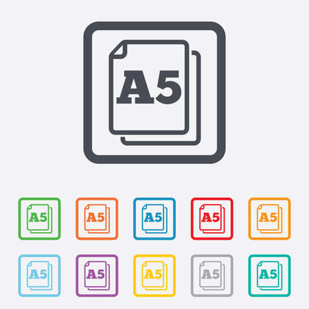 a5: Paper size A5 standard icon. File document symbol. Round squares buttons with frame.