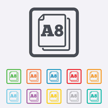 a8: Paper size A8 standard icon. File document symbol. Round squares buttons with frame. Stock Photo
