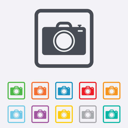 Photo camera sign icon. Digital photo camera symbol. Round squares buttons with frame. photo