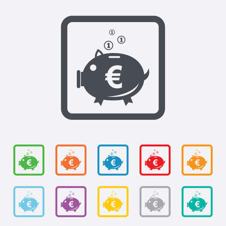 Piggy bank sign icon. Moneybox euro symbol. Round squares buttons with frame. Stock Photo