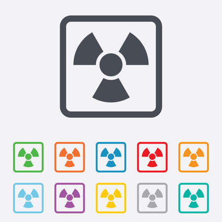 Radiation sign icon. Danger symbol. Round squares buttons with frame. photo
