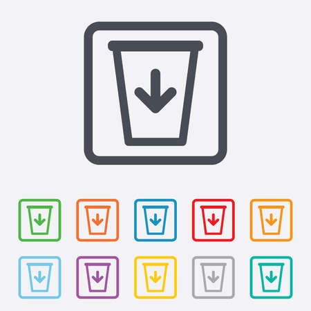 utilization: Send to the trash icon. Recycle bin sign. Round squares buttons with frame. Stock Photo