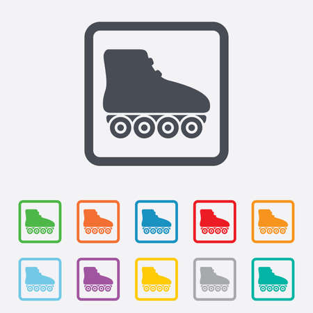 rollerblades: Roller skates sign icon. Rollerblades symbol. Round squares buttons with frame.