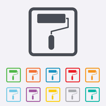 Paint roller sign icon. Painting tool symbol. Round squares buttons with frame. Stock Photo