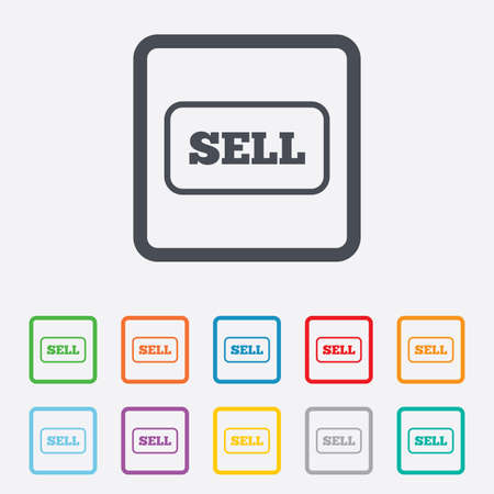 contributor: Sell sign icon. Contributor earnings button. Round squares buttons with frame.