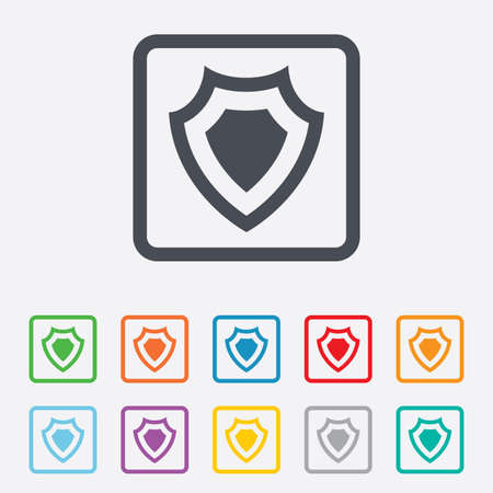 security token: Shield sign icon. Protection symbol. Round squares buttons with frame.