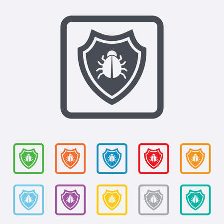 Shield sign icon. Virus protection symbol. Bug symbol. Round squares buttons with frame. photo
