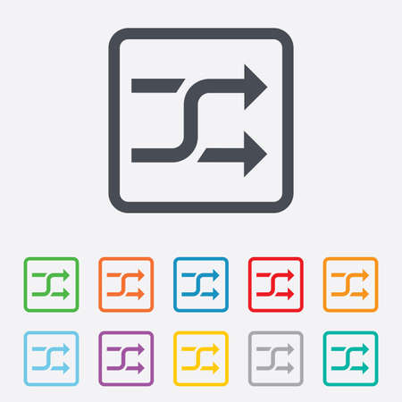 shuffle: Shuffle sign icon. Random symbol. Round squares buttons with frame.