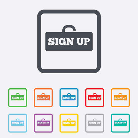 lock up: Sign up sign icon. Registration symbol. Lock icon. Round squares buttons with frame.