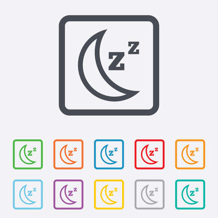 zzz: Sleep sign icon. Moon with zzz button. Standby. Round squares buttons with frame. Stock Photo