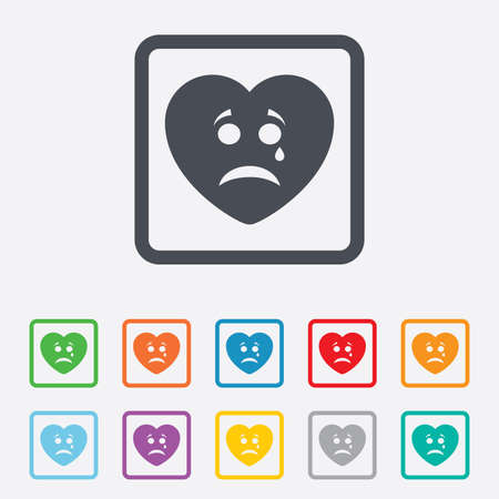 Sad heart face with tear sign icon. Crying chat symbol. Round squares buttons with frame. photo