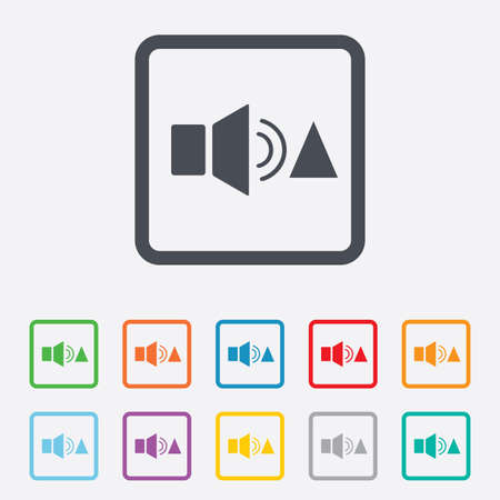 Speaker volume louder sign icon. Sound symbol. Round squares buttons with frame. photo