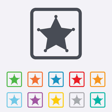 Star Sheriff sign icon. Police button. Sheriff symbol. Round squares buttons with frame. photo
