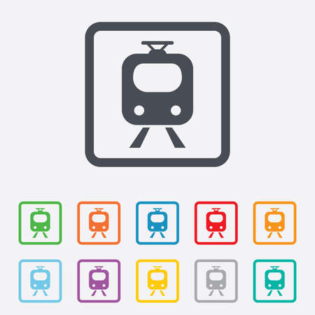 Subway Sign Icon Train Underground Symbol Round Squares Buttons