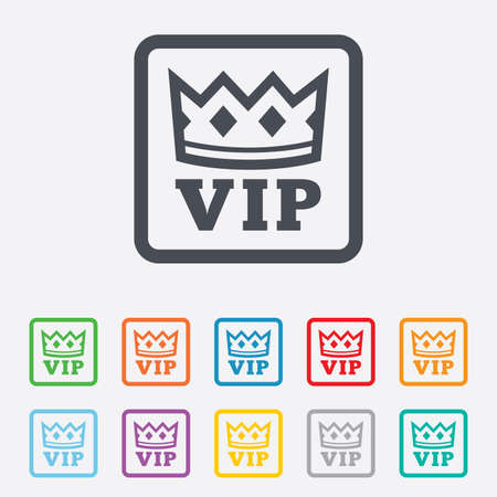 very important person: Vip sign icon. Membership symbol. Very important person. Round squares buttons with frame.