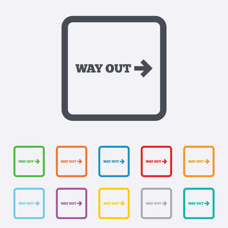 Way out right sign icon. Arrow symbol. Round squares buttons with frame. photo