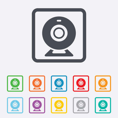 web cam: Webcam sign icon. Web video chat symbol. Camera chat. Round squares buttons with frame.