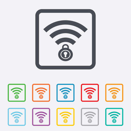 Wifi locked sign. Password Wi-fi symbol. Wireless Network icon. Wifi zone. Round squares buttons with frame. photo
