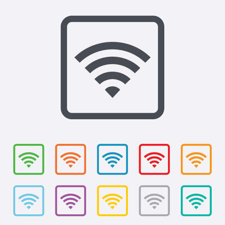 Wifi sign. Wi-fi symbol. Wireless Network icon. Wifi zone. Round squares buttons with frame. photo