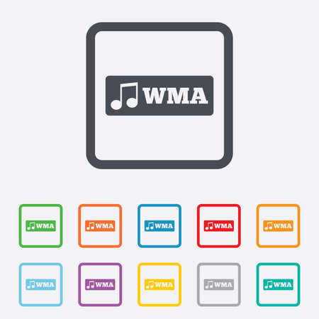 Wma music format sign icon. Musical symbol. Round squares buttons with frame. photo