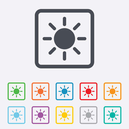 solarium: Sun sign icon. Solarium symbol. Heat button. Round squares buttons with frame.