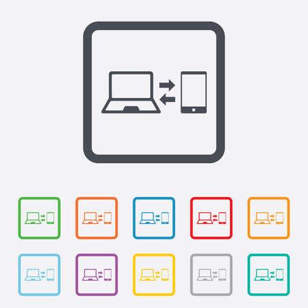 sincronizacion: Icono de se�al de sincronizaci�n. Cuaderno con el s�mbolo de sincronizaci�n del smartphone. El intercambio de datos. Cuadrados botones redondos con marco.