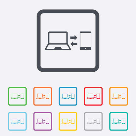 sync: Synchronization sign icon. Notebook with smartphone sync symbol. Data exchange. Round squares buttons with frame.