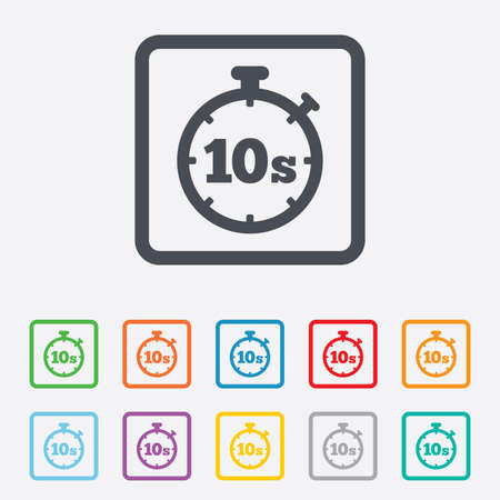 seconds: Timer 10 seconds sign icon. Stopwatch symbol. Round squares buttons with frame. Stock Photo