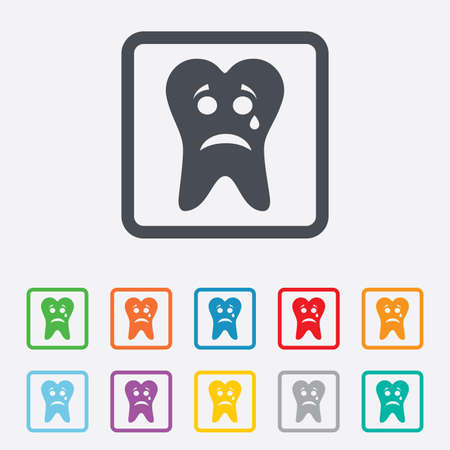 aching: Tooth sad face with tear sign icon. Aching tooth symbol. Unhealthy teeth. Round squares buttons with frame. Stock Photo