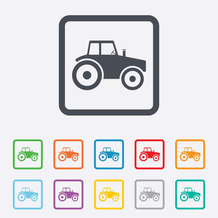 tractor sign: Tractor sign icon. Agricultural industry symbol. Round squares buttons with frame. Stock Photo