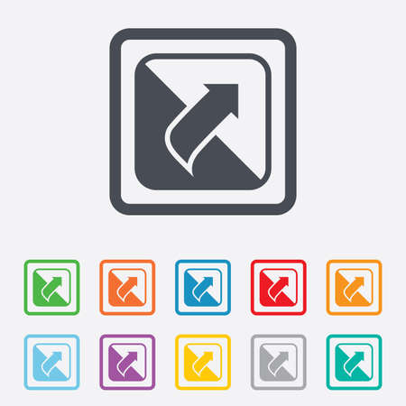 Turn page sign icon. Peel back the corner of the sheet symbol. Round squares buttons with frame. photo