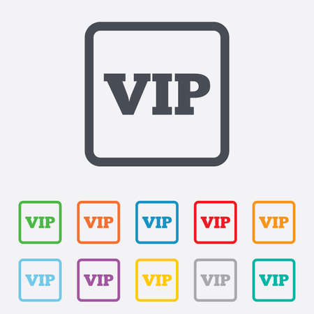 very important person sign: Vip sign icon. Membership symbol. Very important person. Round squares buttons with frame.