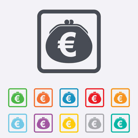 Wallet euro sign icon. Cash bag symbol. Round squares buttons with frame. photo