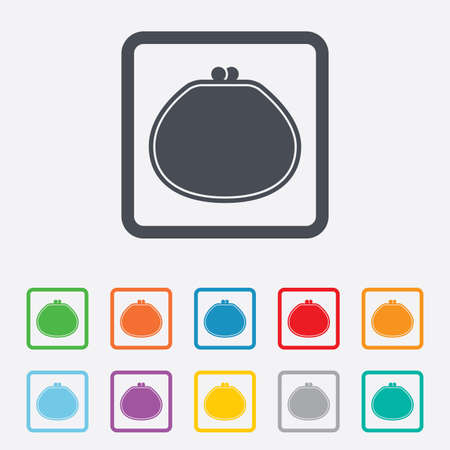 Wallet sign icon. Cash bag symbol. Round squares buttons with frame. photo