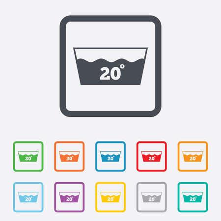 washable: Icono de lavado. Lavable a m�quina a 20 grados s�mbolo. Cuadrados botones redondos con marco. Foto de archivo