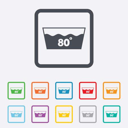 washable: Icono de lavado. Lavable a m�quina a 80 grados s�mbolo. Cuadrados botones redondos con marco.