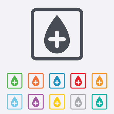 Water drop with plus sign icon. Softens water symbol. Round squares buttons with frame. Stock Photo