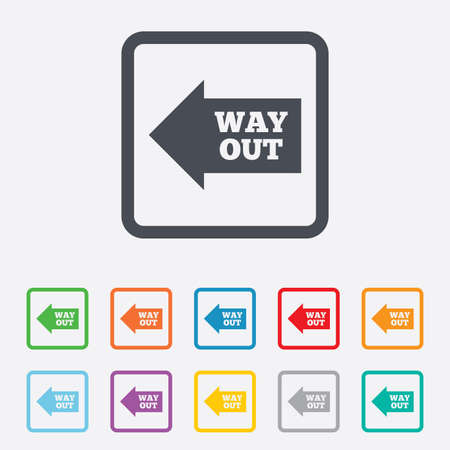 Way out left sign icon. Arrow symbol. Round squares buttons with frame. photo