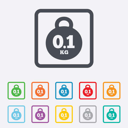 01: Weight sign icon. 0.1 kilogram (kg). Envelope mail weight. Round squares buttons with frame. Stock Photo