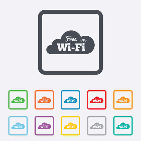 Free wifi sign. Wifi symbol. Wireless Network icon. Wifi zone. Round squares buttons with frame. photo