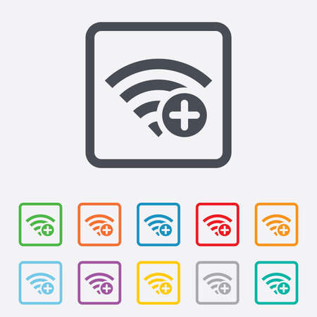 Wifi plus sign. Add Wi-fi symbol. Wireless Network icon. Wifi zone. Round squares buttons with frame. photo